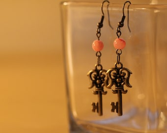 Pink and Brass Key Earrings