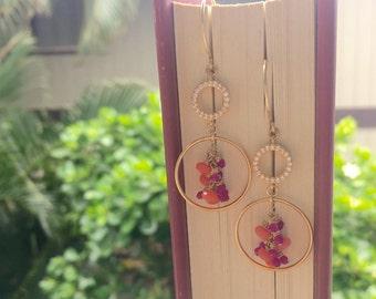 Gold Mixed Gemstone Cluster Hoop Earrings