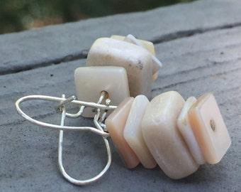 Shells and stones earrings, organic earrings, natural earrings, beach earrings, cream colored shell earrings, bohemian earrings