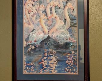 Water Color : Original Pink Flamingos Watercolor Painting. Flamingo painting. Watercolor art. Watercolor birds. Flamingo wall art. Bird art.