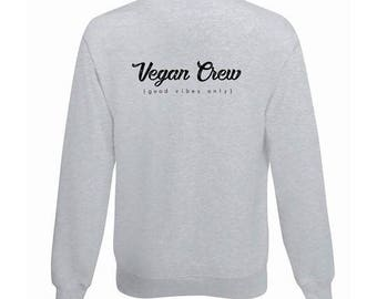 VEGAN hoodie, sweatshirt, Vegan CREW, Grey L