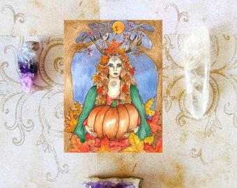 Goddess Art Mabon Goddess Prayer Card Fall Equinox Pagan Art Fall Goddess Samhain Sabbat Art Divine Sacred Feminine Spiritual Art Witchcraft
