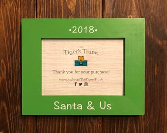 Santa Photo | Santa Picture Frame | Hand-Painted Santa & Us Wooden 5x7 Photo Frame ---Year can be personalized!