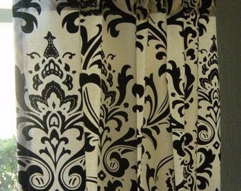 Flash Sale 48 hours only- 20% off now-Black and White Damask Window Treatments/ Curtains, home decor, for living room