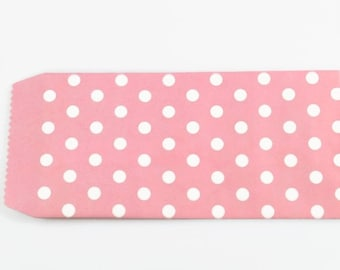 PINK PAPER ENVELOPES (Set of 5) - Pink with White Dots (17.5cm x 8.5cm)