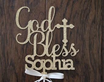 God bless Cake Topper - gold - Cake topper - God Bless #5005