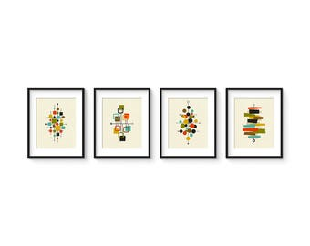 Collection of (4) Giclee Prints 8x10 Format - Mid Century Modern