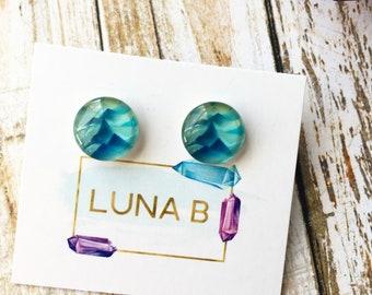 Ocean Blue Waves Graphic Earrings