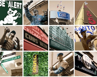 Chicago Cubs Art  12 pc. Collection, Wrigley Field Canvas Set, Chicago Canvas, Chicago art, Chicago Photo, Chicago print