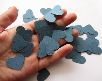 Wedding confetti hearts - Navy Blue Paper hearts - die cut hearts - paper heart confetti - wedding table scatters