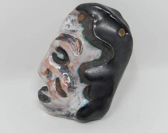 Old ceramic pendant, abstract mask, free shipping
