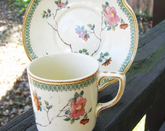 Johnson Brothers Teacup And Saucer Set, Made In England, Collectible China, Floral Design With Green Decorative Edging, ,
