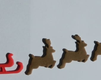 1 edible CHRISTMAS SANTA sleagh & 4 REINDEERS cake cupcake decoration novelty topper cute gift xmas party birthday holiday cookie