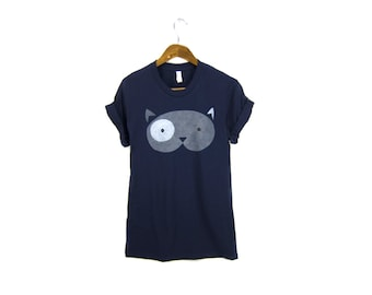 Geo Fat Cat Tee - Boyfriend Fit Crew Neck Tshirt with Rolled Cuffs in Navy Blue and Grey - Women's Size S-4XL