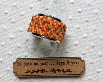 Silver plated Adjustable ring / / Orange woven Miyuki