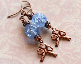Blue Earrings, Victorian Earrings, Crystal and Copper Earrings, Vintage Crackle Czech Glass Earrings, Bow Earrings, Crystal Earrings, SRAJD