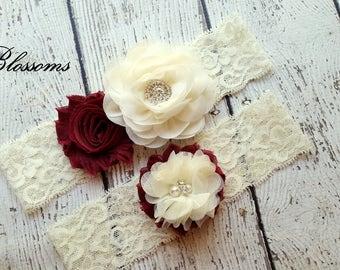 MAROON Bridal Garter Set - Ivory Keepsake & Toss Wedding Garter - Chiffon Flower Rhinestone Lace Garters - Vintage Lace Garter - Burgundy