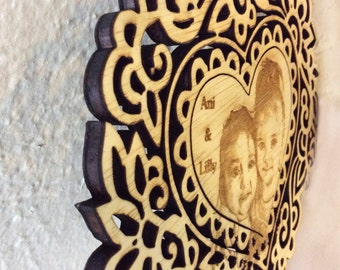 Engrave your favorite Photo on wood cut out with magnet backing