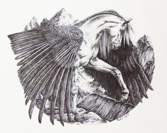 Print: Pegasus Ink Drawing
