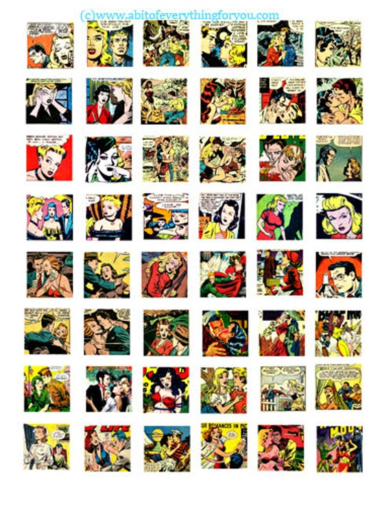 lovers romance comics art collage sheet 1 inch squares clip art digital download graphics images craft printables