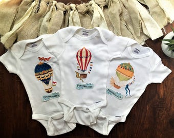 Hot air balloon baby shower onesie® set, hot air balloon decorations baby gift, adventure onesie baby shower, personalized baby boy gifts