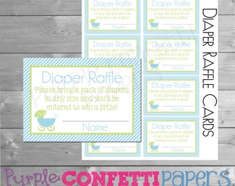 Carriage Diaper Raffle Cards, Carriage, Diaper Raffle Cards, Baby Shower, Blue, Green, Baby Shower Games, Boy, Printable, INSTANT DOWNLOAD