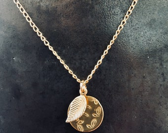 Delicate 14 KT Gold Filled Necklace with Tiny leaf and Gold Disc