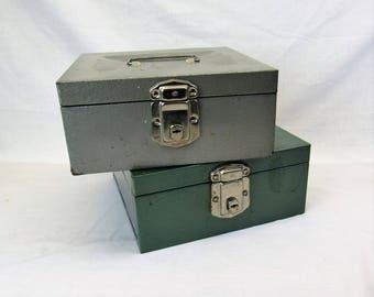 2 Vintage metal File Boxes 1960s 1970s storage boxes 9 x 9 x 4 grey green