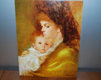 "Vintage Winde Fine Prints - ""Mother Love"" - by Gentipini - textured Litho - unframed - no. 111 - 11"" x 14"" - Portrait - Madonna"