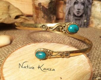 Brass arm bracelet,Brass bracelet,boho jewellery,natural stone jewellery,Tiger eye,Turqoise,Laboraidite,psytrance jewellery