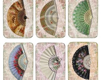 Victorian Fan Tags, ATC, Scrapbookclipart, Cards, collages Set of 6 Fans, Fans digital college, oriental fans, colorful fans printable