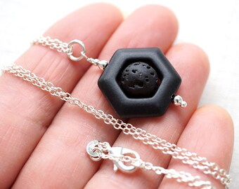 Jewelry Handmade Raw Stone Necklace Essential Oil Diffuser Necklace Lava Necklace Geometric Necklace Black Stone Aromatherapy Necklace