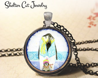 "Whimsical Parent and Kid Penguin Necklace - 1-1/4"" Circle Pendant or Key Ring - Photo Art Jewelry - Wildlife, Winter, Christmas Gift"