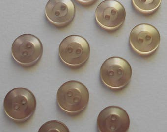 Set of 12 Shiny Light Tan Plastic Buttons ( 1/2 in)-Item# 234