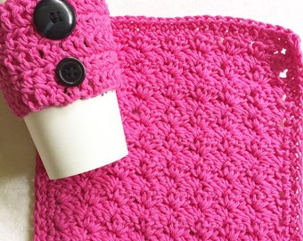 Pink Ladybug Cup Cozy and Dishcloth, Coffee Lovers, Tea Lovers, Teacher Gift, Birthday Gift
