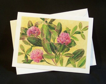 Note Card - Nature Print with Colored Pencil Enhancement - Clover Flower