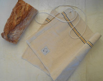 100% recycled fabric linen bread bag