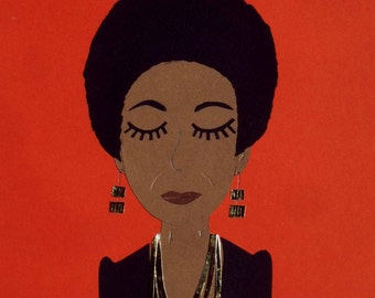 Nina Simone collage orange / Papercraft - papercut handmade / hand-made paper cut illustration face