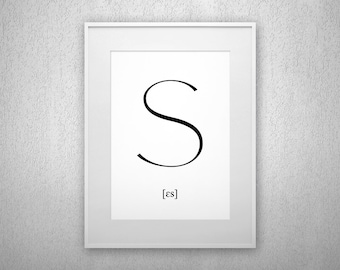 Typography Art Print - S - Letter poster - Printable - Wall Art