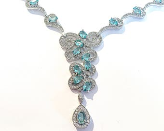 Beautiful Sky Blue and CZ 925 Sterling Silver Necklace