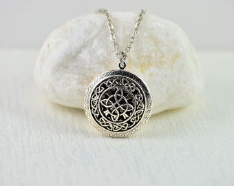 Celtic Knot Aromatherapy Necklace Diffuser Essential Oils Necklace, Lava Jewellery Silver Celtic Knot Necklace Oil Diffuser Pendant Necklace