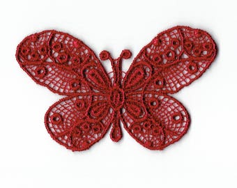 """Patch fusible trendy Burgundy Red pattern """"Butterfly lace"""""""