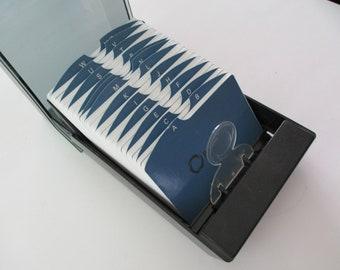 vintage desk organizer- Rolodex, black, plastic, model VIP350