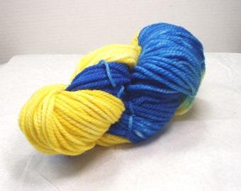Merino Bulky Superwash  / Hand Dyed  Wool Yarn  / Multi Colored/ Variegated  Yarn  / Yellow /  Royal  Blue //Bright Colors / Sky Flower