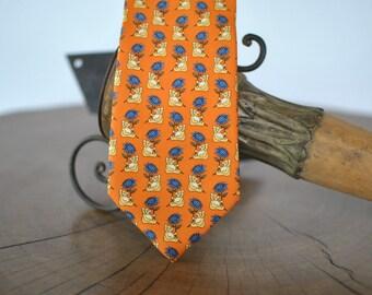 Vintage FELICIANI printed silk necktie , men's silk tie ....(020)