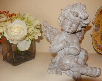 for outside or inside sitting patina Stone Angel statue