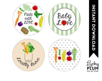 Locally Grown Baby Shower Cupcake Topper / Farmer's Market Cupcake Topper / Fruit Vegetable Cupcake / DIY Printable /  *Digital file*