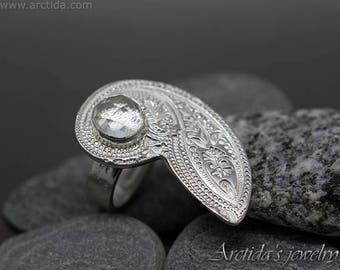 Cocktail Ring Größe 7 Paisley gemusterten Feinsilber und Crystal Clear Quarz Schmuck natürliche facettierte Edelstein Ring großer Ring Breitband