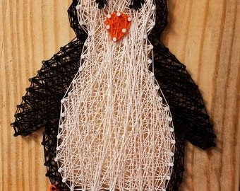 Handmade animal string art sign--penguin