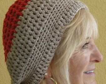 Cute slouchy hat in beige and orange, women's winter fashions, comfortable and chic crochet winter hat, unique women's fashion, gift for her